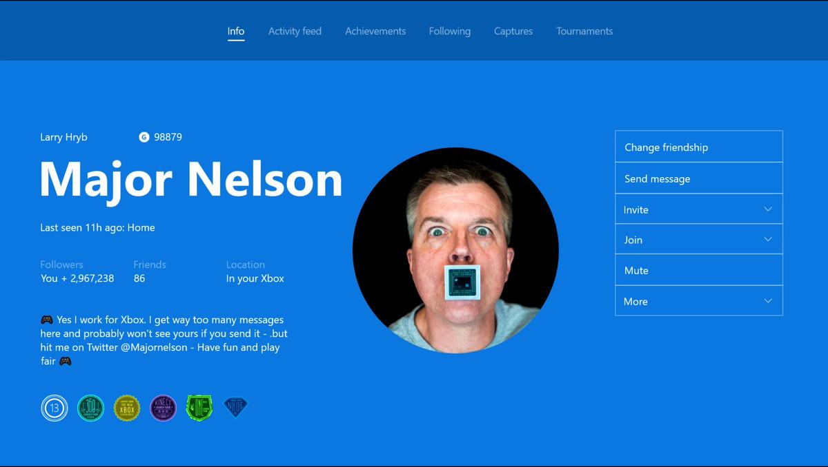 Xbox One - Major Nelson custom Gamerpic