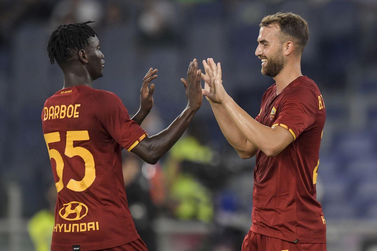Borja Mayoral of AS Roma (R) celebrates with Ebrima Darboe...