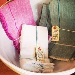 """The tags on these $42 <a href=""""http://www.nickeykehoe.com/""""target=""""_blank"""">Nickey Kehoe</a> napkins read: """"This traditional Khadi textile takes its inspiration from Ghandi and his vision of rural self-reliance."""" Aww."""