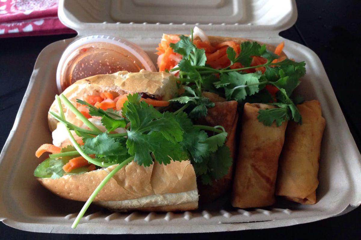 Banh mi and egg rolls at Saigon Le Vendeur