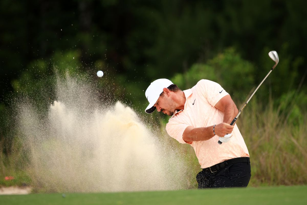 Brooks Kopeka plays a shot from a bunker on the 12th hole during the first round of the Palmetto Championship at Congaree on June 10, 2021 in Ridgeland, South Carolina.