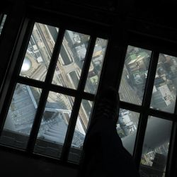 The ground view is seen through the glass floor of the 450-meter (1,476 feet)-high observation deck of the Tokyo Sky Tree during a press preview in Tokyo Tuesday, April 17, 2012. The world's tallest freestanding broadcast structure that stands 634-meter (2,080 feet) will open to the public in May.