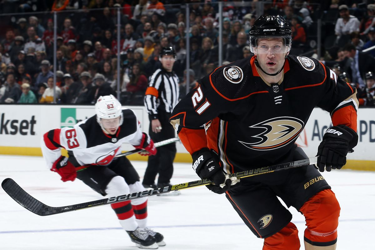ANAHEIM, CA - MARCH 1: David Backes #21 of the Anaheim Ducks skates during the game against the New Jersey Devils at Honda Center on March 1, 2020 in Anaheim, California.