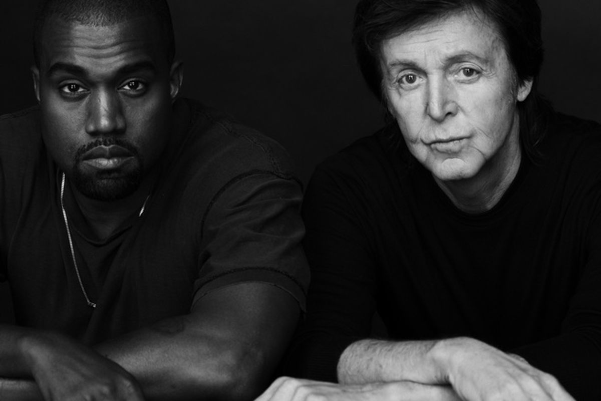 """Kanye West and Paul McCartney after their collaboration on """"Only One"""" in 2015 -- The Verge"""