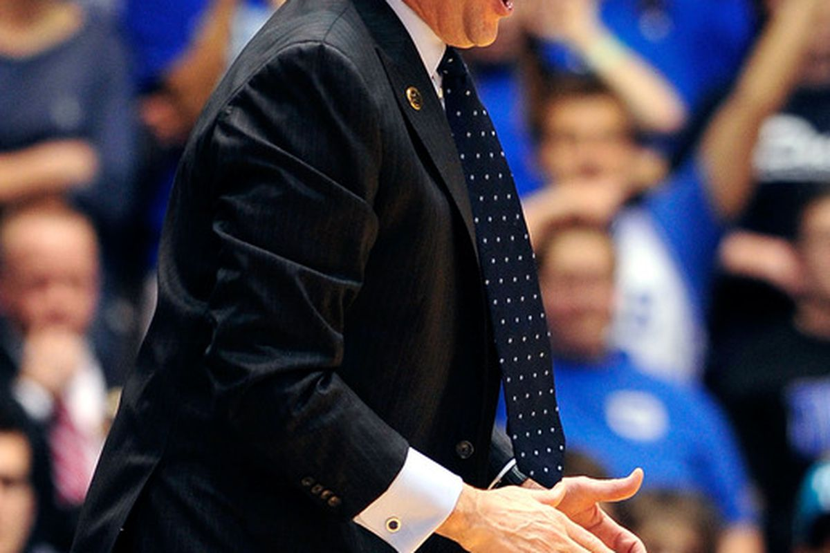 DURHAM, NC - JANUARY 12:  Coach Mike Krzyzewski of the Duke Blue Devils directs his team against the Virginia Cavaliers during play at Cameron Indoor Stadium on January 12, 2012 in Durham, North Carolina.  (Photo by Grant Halverson/Getty Images)