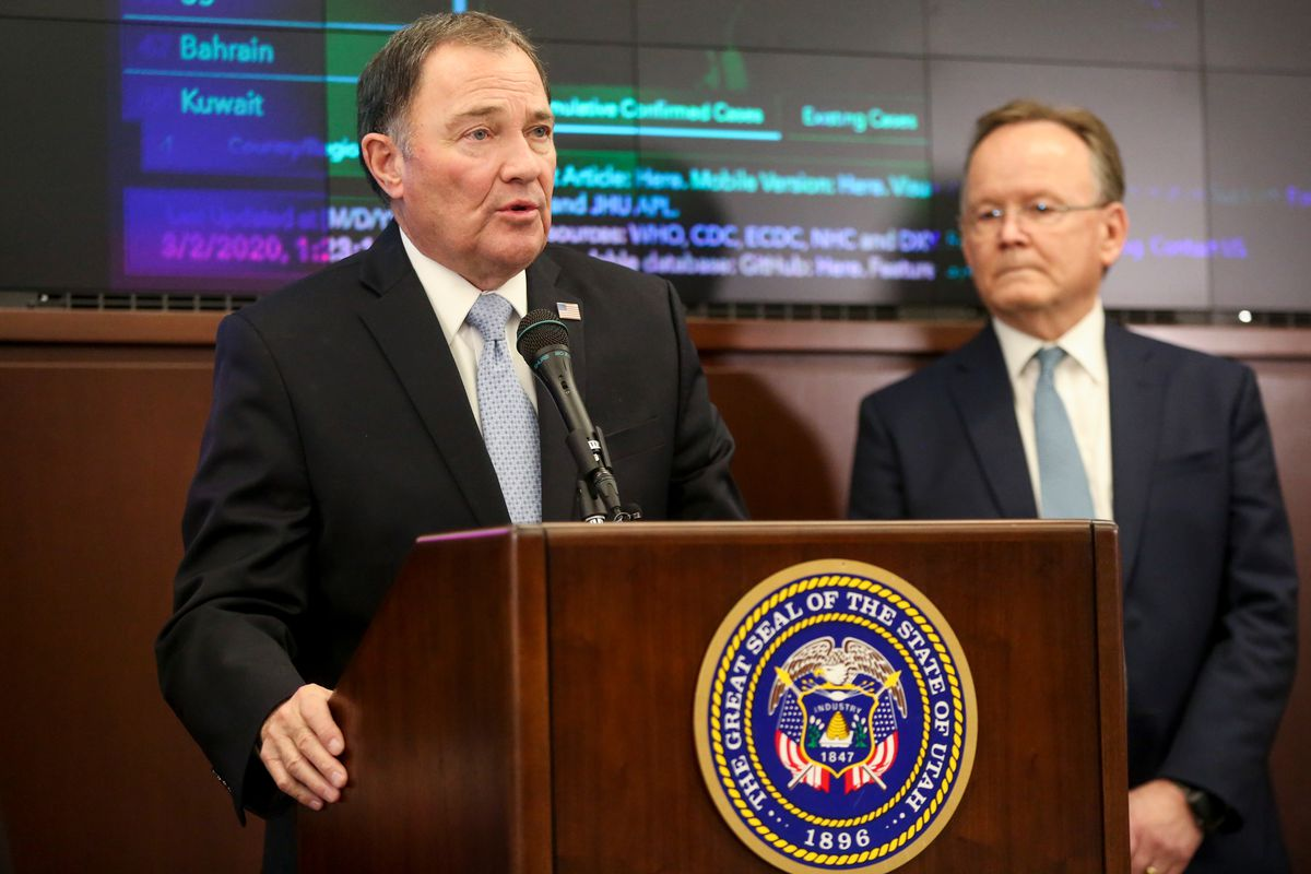 Gov. Gary Herbert speaks during a press conference addressing preparations for a potential outbreak of the coronavirus in Utah at the state Capitol in Salt Lake City on Monday, March 2, 2020.