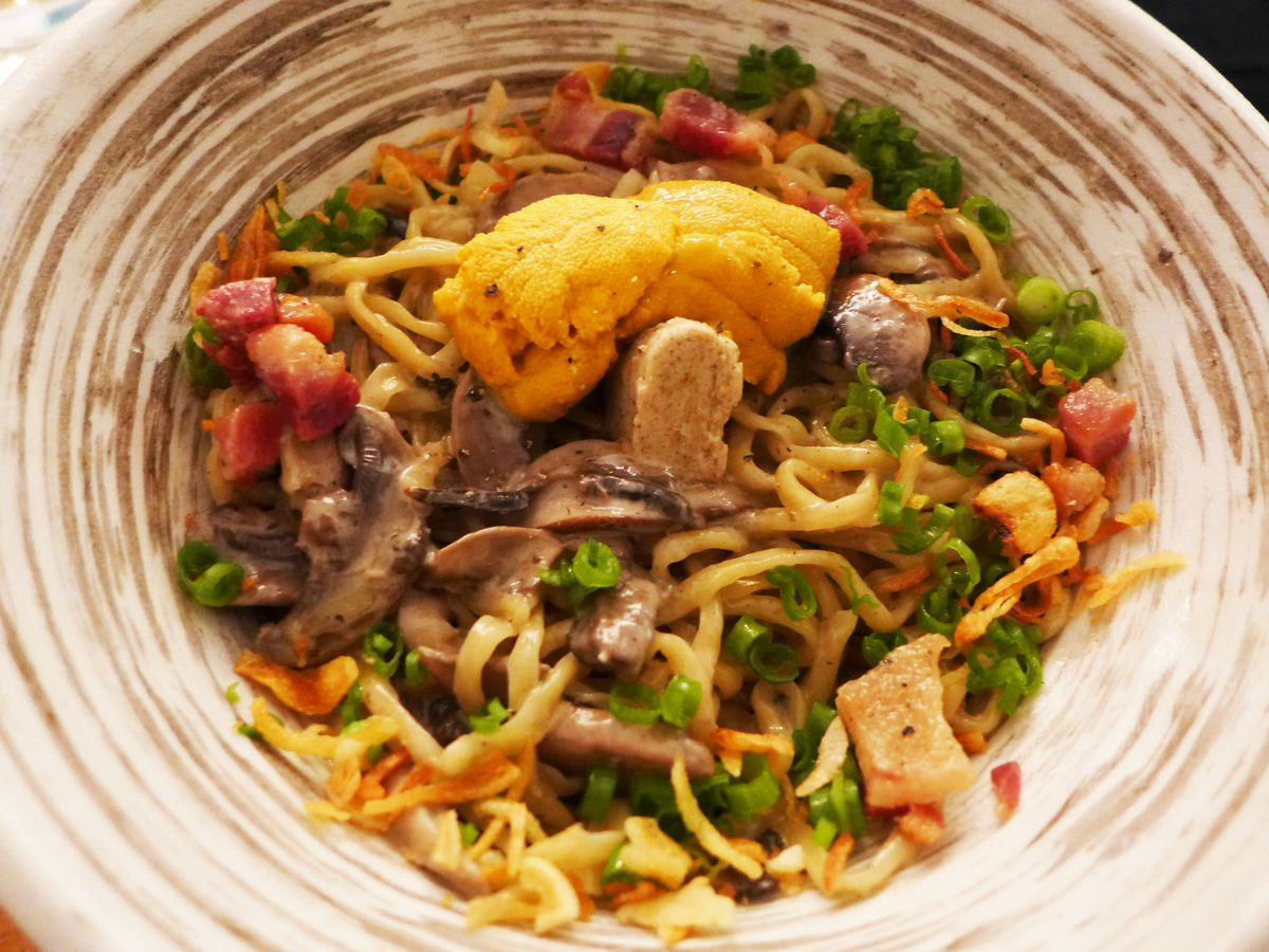 Brothless ramen with uni, mushrooms, and pancetta