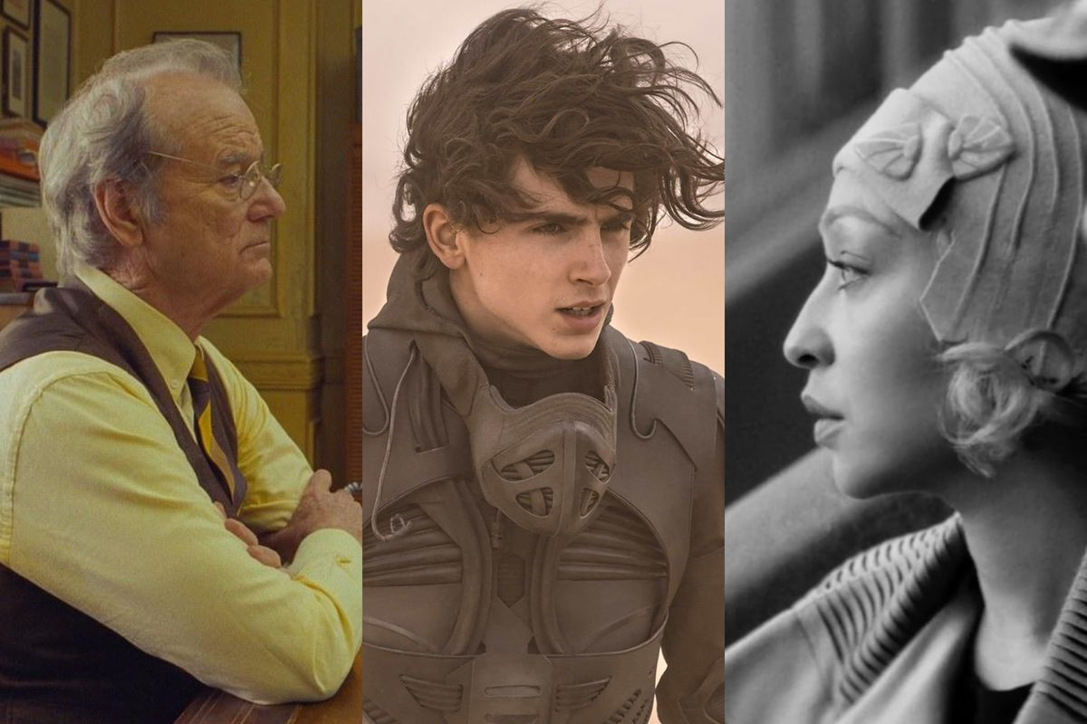 A triptych made up of three actors' faces.