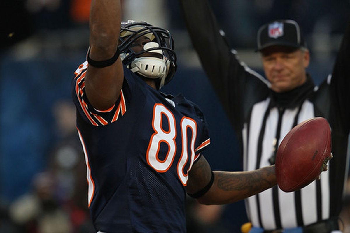 Earl Bennett of the Chicago Bears celebrates the first of two 1st half touchdown catches against the Philadelphia Eagles at Soldier Field on November 28 2010 in Chicago Illinois. (Photo by Jonathan Daniel/Getty Images)