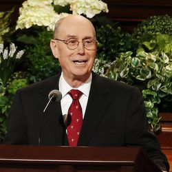 President Henry B. Eyring, first counselor in the First Presidency of The Church of Jesus Christ of Latter-Day Saints, speaks during the General Women's Session of the 187th Annual General Conference in the Conference Center in Salt Lake City on Saturday, March 25, 2017.