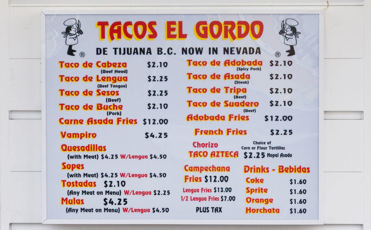 The Tacos El Gordo menu