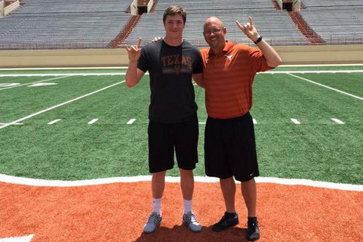 Major Tennison and Texas tight ends coach Jeff Traylor in June 2015