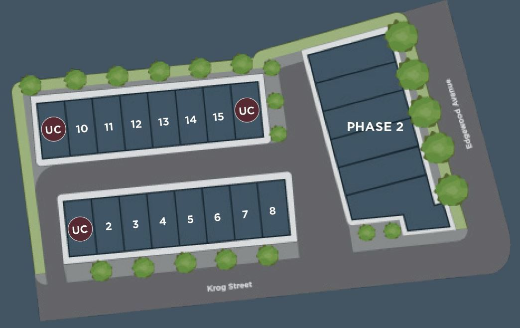 An overview rendering of 16 townhomes and a planned later flank.