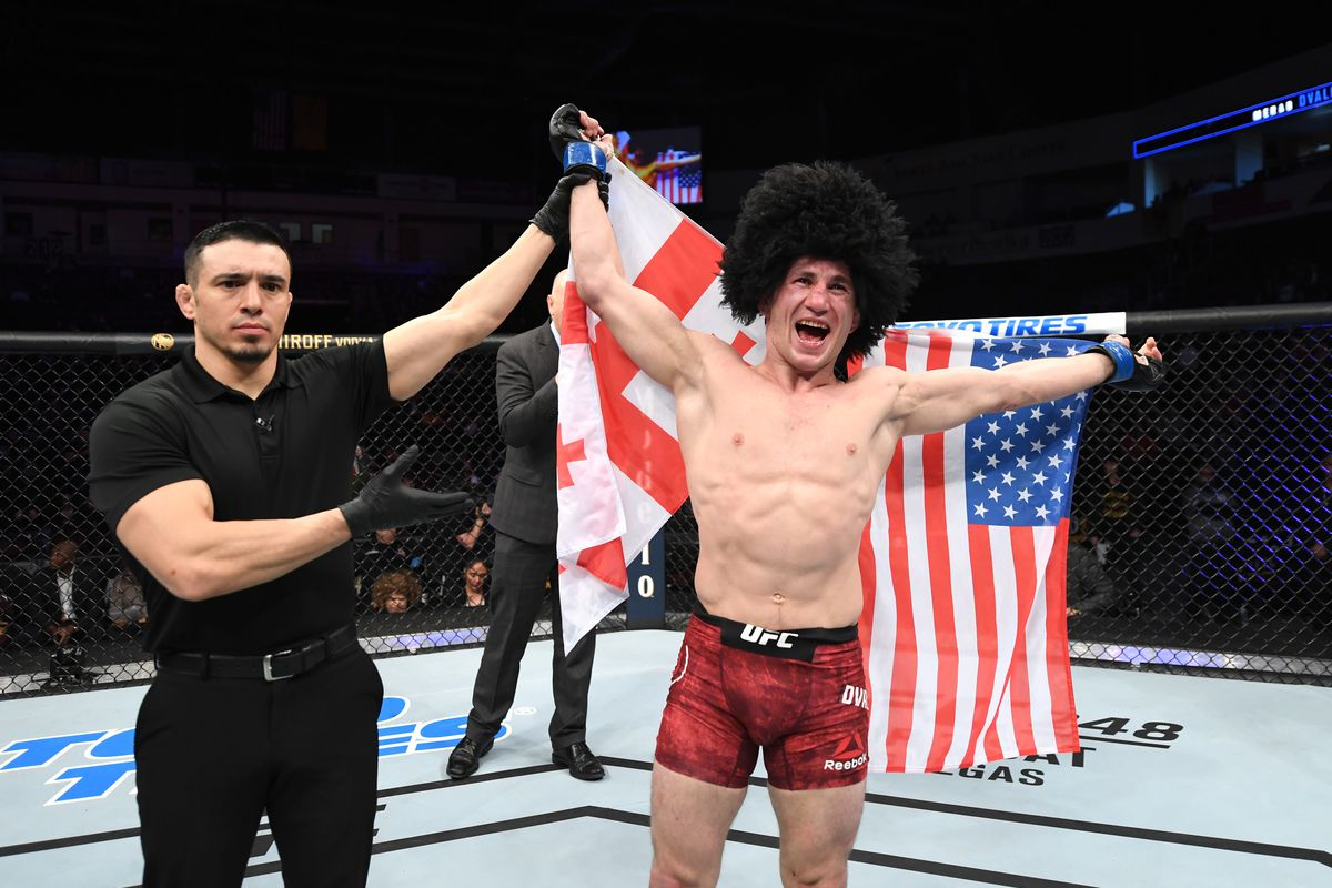 Merab Dvalishvili of Georgia celebrates his victory over Casey Kenney in their bantamweight bout during the UFC Fight Night event at Santa Ana Star Center on February 15, 2020 in Rio Rancho, New Mexico.