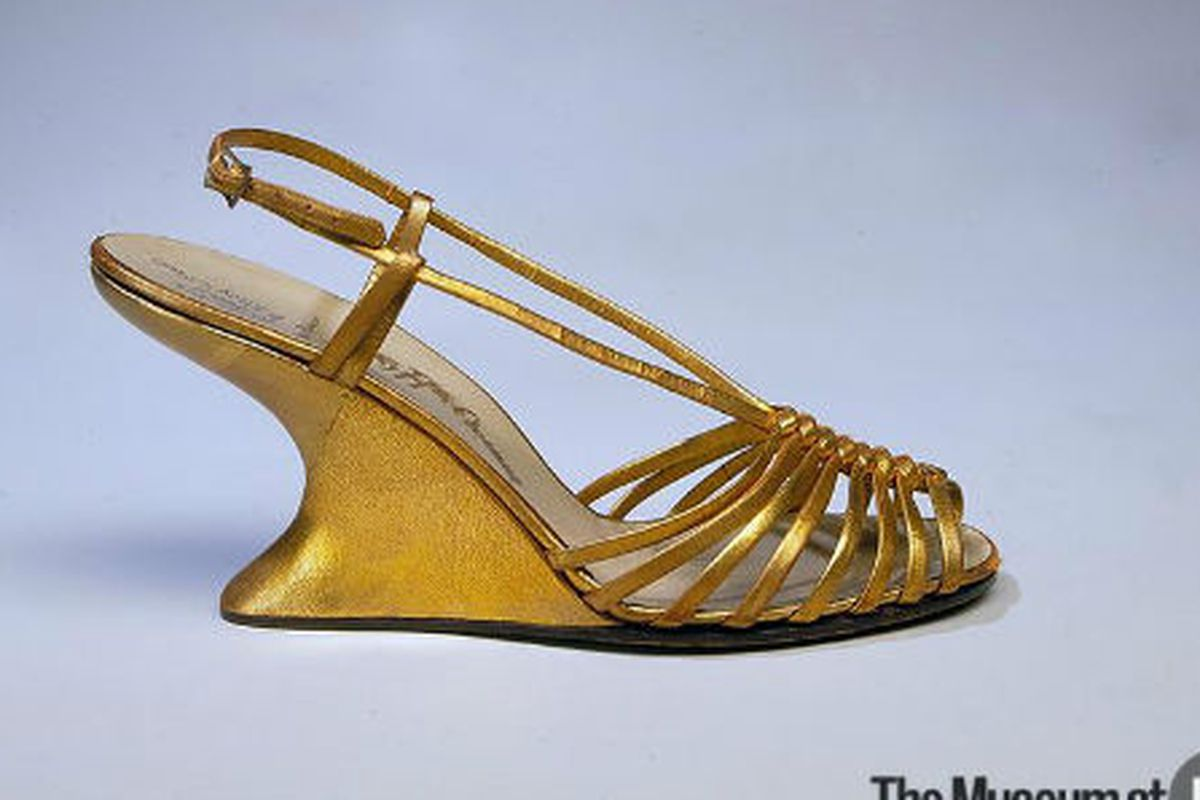"""Ferragamo shoes from 1949, image via <a href=""""http://fashionmuseum.fitnyc.edu/view/objects/asitem/769/4/dynasty-desc?t:state:flow=20890d00-202e-4ddc-9574-b3e5d197a38e"""">MFIT Online Collections</a>"""