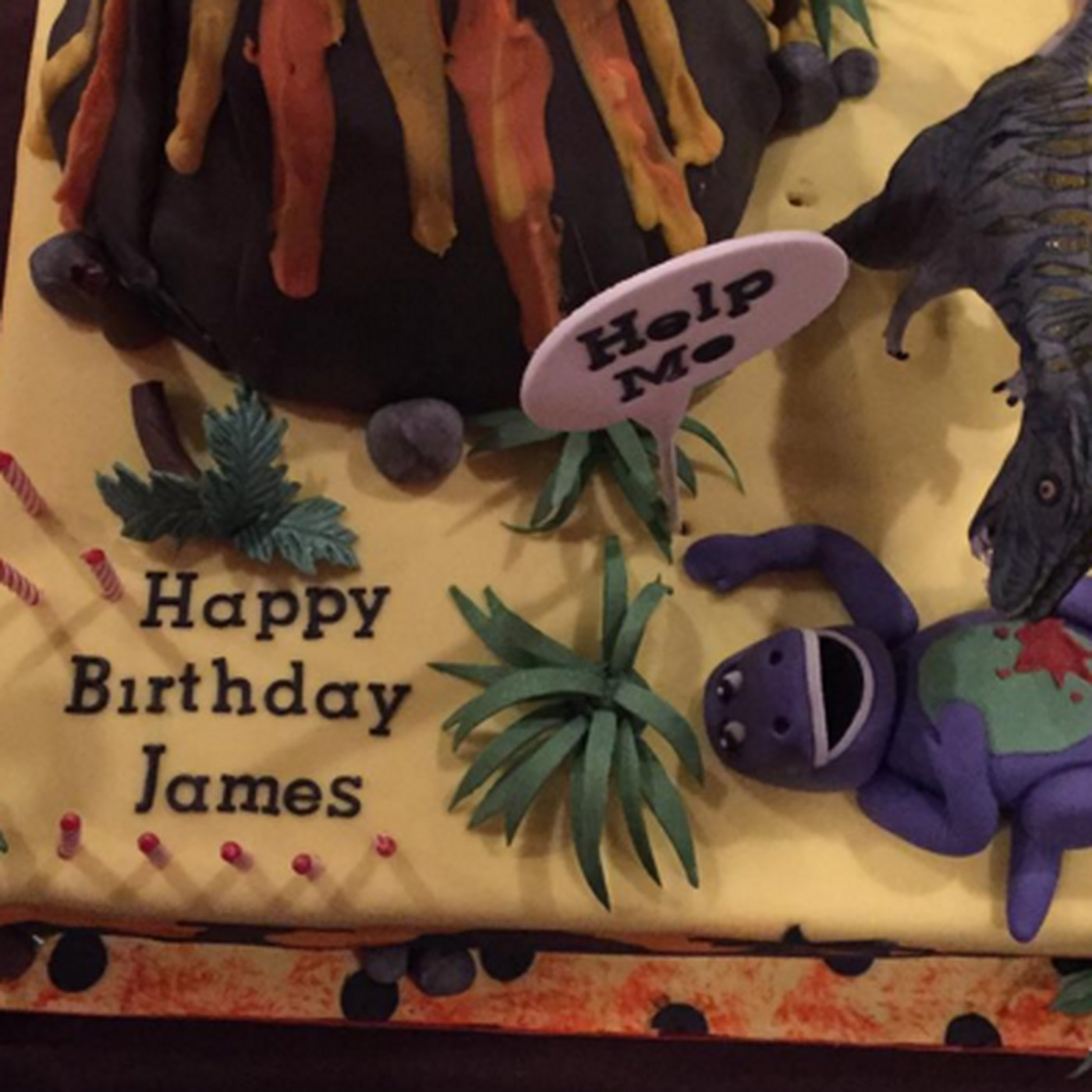 James Harrisons Sons Birthday Cake Featured A Cannibal Dinosaur Eating Barney