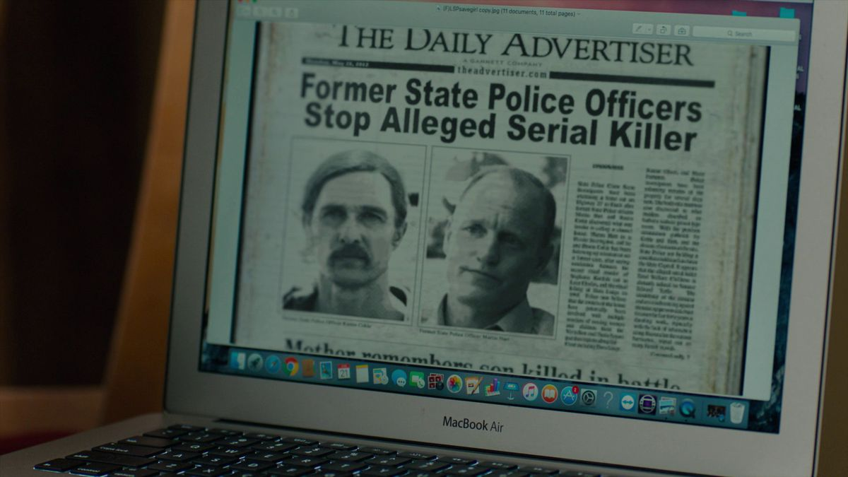 True Detective season 3 episode 7 season 1 news paper reference