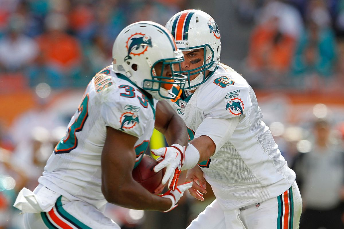 Matt Moore #8 of the Miami Dolphins hands off to  Daniel Thomas #33 during a game against the Oakland Raiders