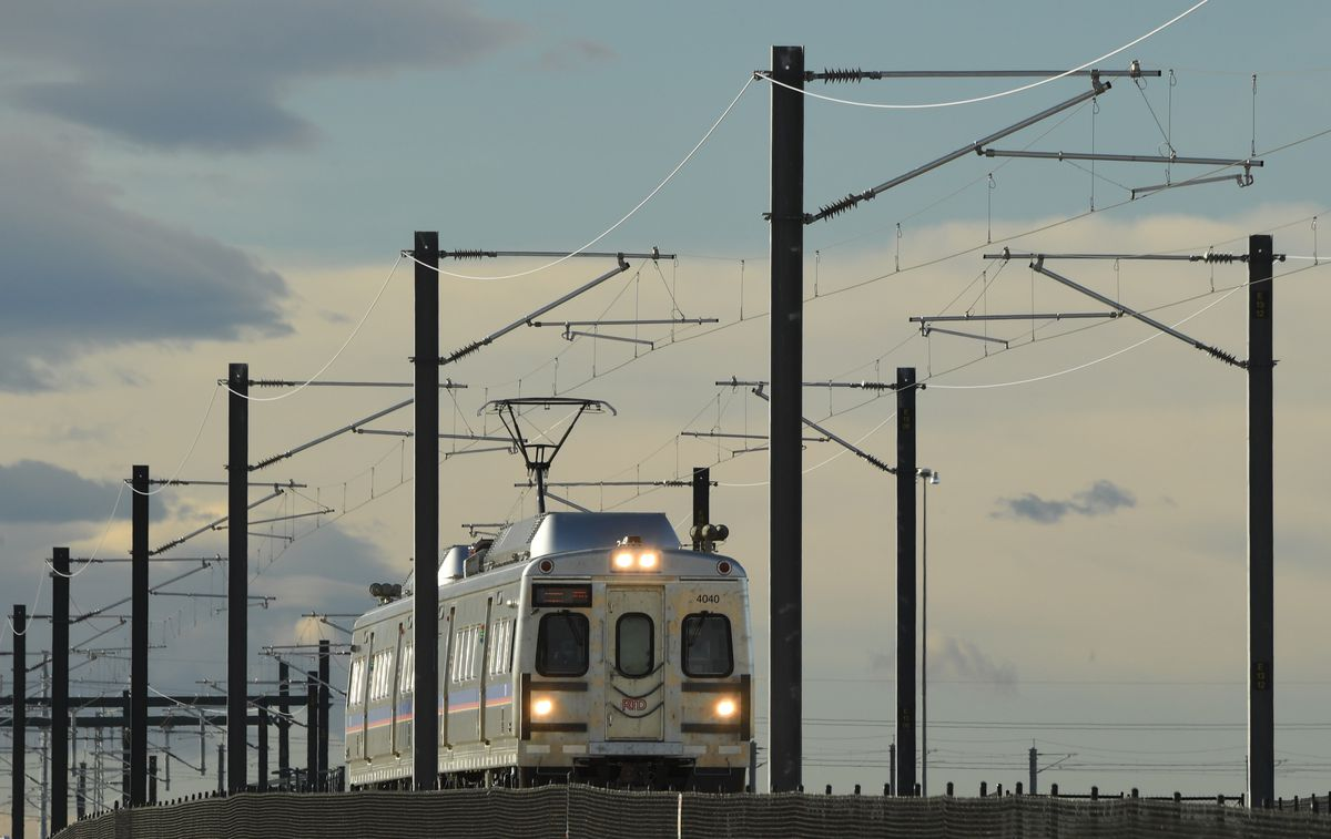 The A-Line train in Denver last October