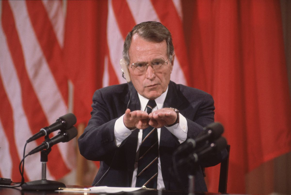 George HW Bush gesture