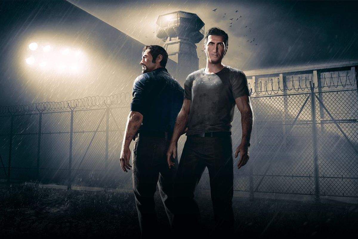 Two men standing back-to-back in 'A Way Out'