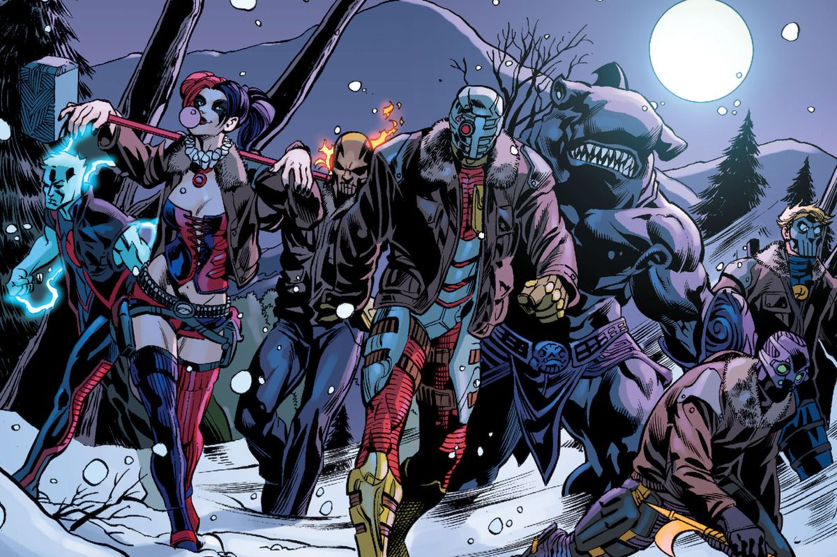 Harley Quinn, Diablo, Deadshot, King Shark and other supervillains march through the snow in Suicide Squad #1 (2011).
