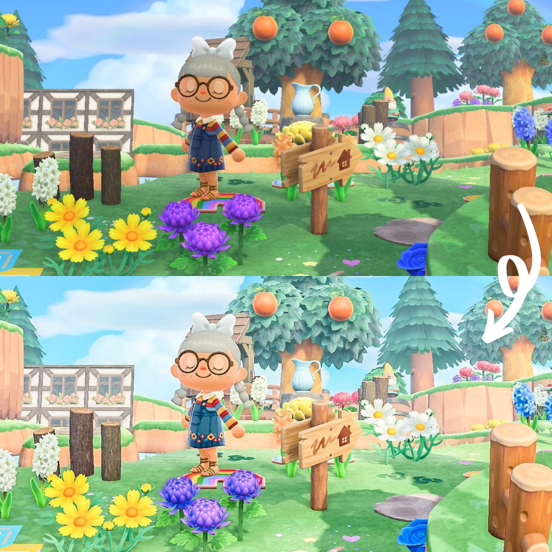 "A before and after comparison of Blathies' ""Kindergarden"" preset, which sells for $6, in Animal Crossing: New Horizons"