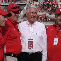 President Dieter F. Uchtdorf, second counselor in the First Presidency of The Church of Jesus Christ of Latter-day Saints, poses for a photo prior to Utah's game against North Dakota on Thursday, Aug. 31, 2017, at Rice-Eccles Stadium.