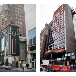 This combination of photos shows the Glad Tidings Tabernacle church on West 33rd Street in New York, on March 18, 2005, left, and a hotel being built at the site on May 24, 2012. When the dwindling congregation at Glad Tidings Tabernacle sold its big, crumbling Manhattan home in 2007, church leaders spent some of the $31 million on the Rev. Carl Keyes and a few of his supporters, according to real estate and other financial records.
