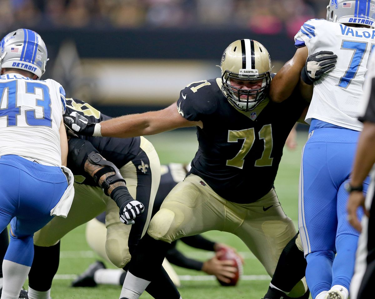 New Orleans, LA, USA; New Orleans Saints offensive tackle Ryan Ramczyk  (71) blocks on a kick attempt in the first half against the Detroit  Lions at the Mercedes-Benz Superdome.