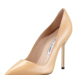 """Manolo Blahnik BB Pointed-Toe Patent Pump in Nude, $595 at <a href=""""http://boydsphila.com/"""">Boyds</a>"""