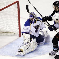 San Jose Sharks defenseman Brent Burns (88) scores past St. Louis Blues goalie Brian Elliott (1) and defenseman Kevin Shattenkirk (22) during the first period in Game 3 of an NHL Stanley Cup first-round hockey playoff series, Monday, April 16, 2012 in San Jose, Calif.