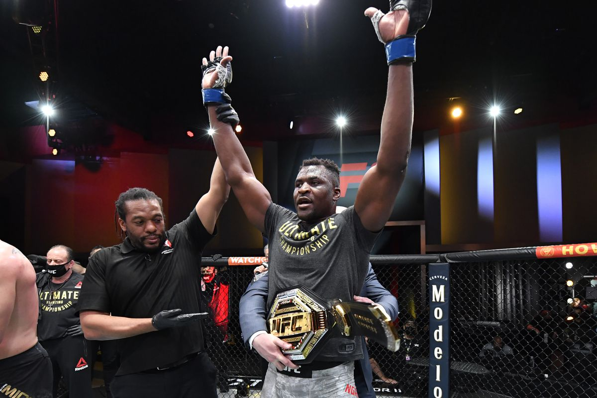 Francis Ngannou after his victory over Stipe Miocic at UFC 260