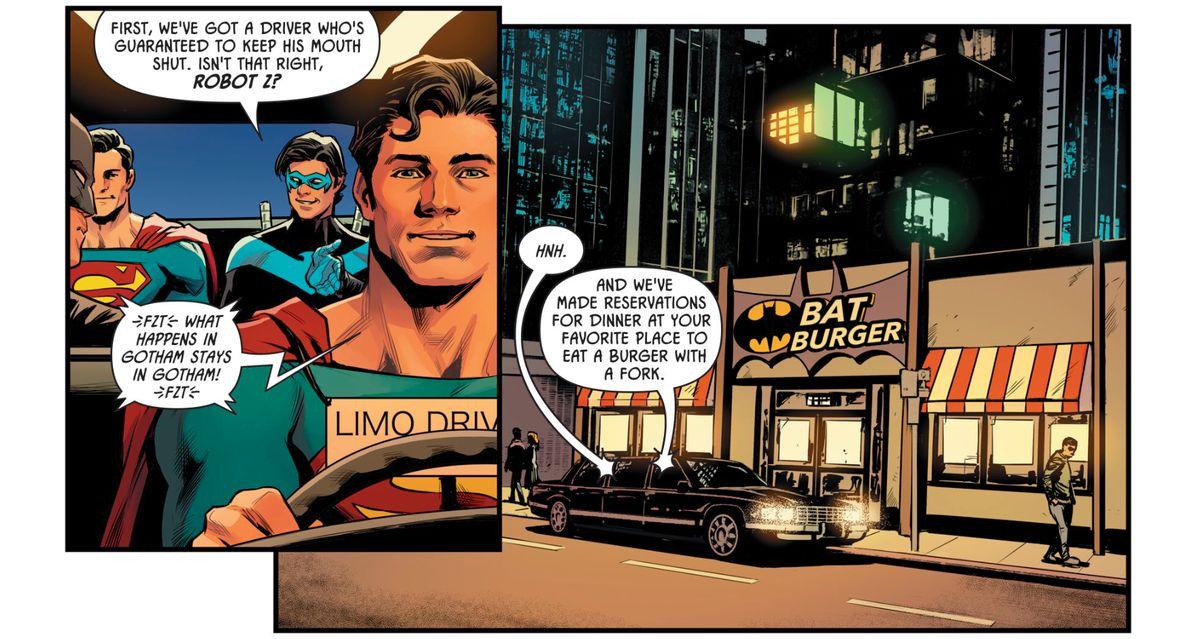 Superman, Batman, Nightwing and a robot Superman in Batman: Prelude to the Wedding: Nightwing vs. Hush #1, DC Comics (2018).