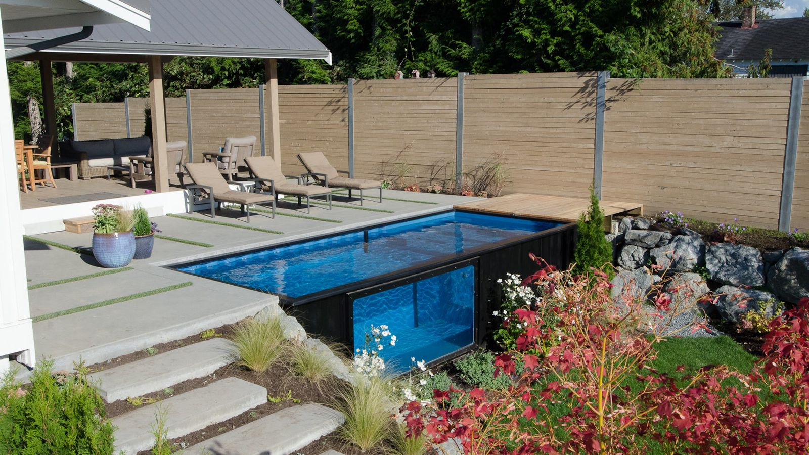 shipping container pool sets up in minutes curbed. Black Bedroom Furniture Sets. Home Design Ideas