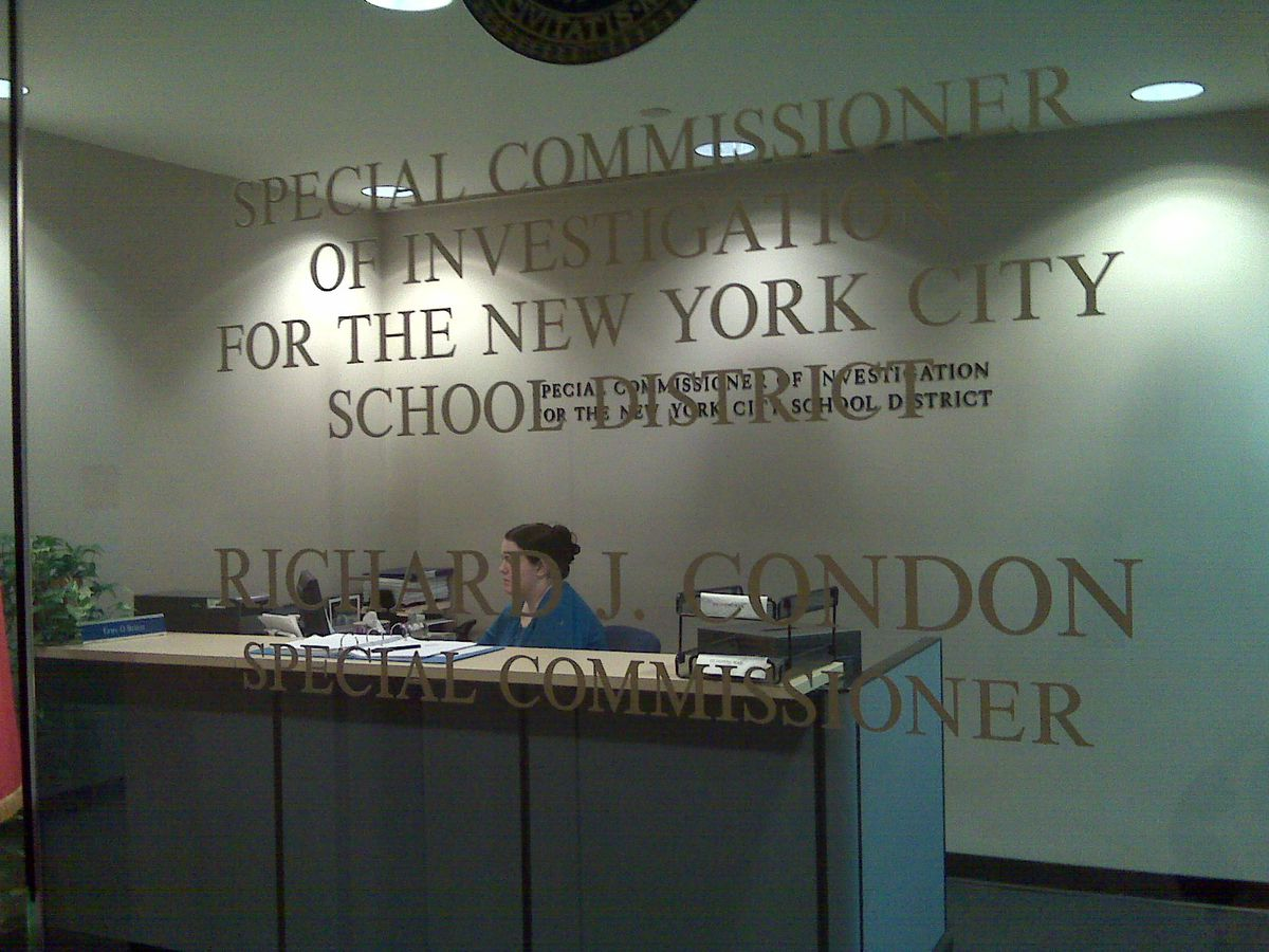 The receptionist at the office of the Special Commissioner of Investigations, Richard Condon. Condon's staff takes up more than an entire floor at its financial district building.<br />