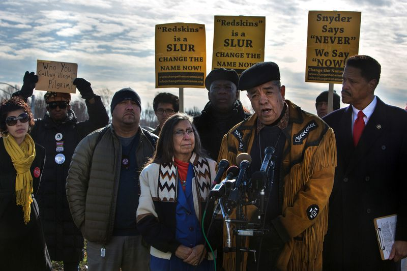 Radio broadcaster Jay Winter Nightwolf and a coalition of African Americans, Latinos, and Native Americans gather in Maryland to protest the Redskins' name in 2013