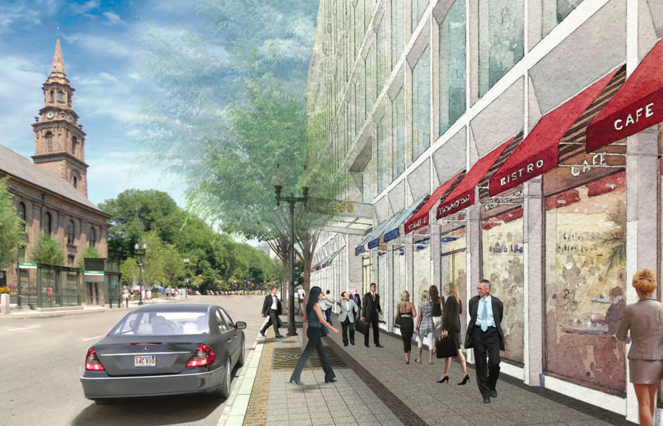 Rendering of a busy sidewalk next to a new office building.