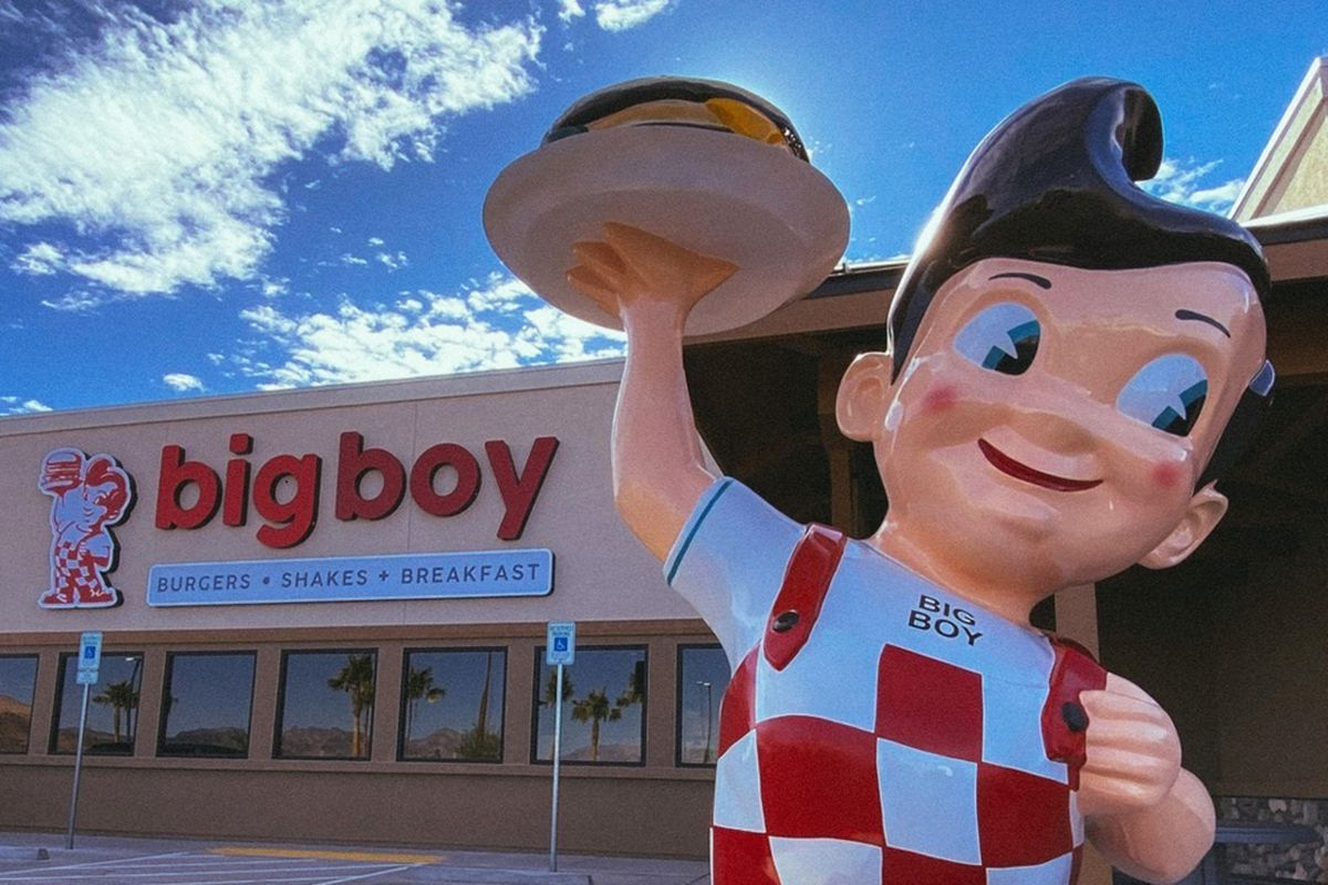 A statue of the iconic restaurant mascot outside the new Big Boy restaurant in Indian Springs, Nevada.
