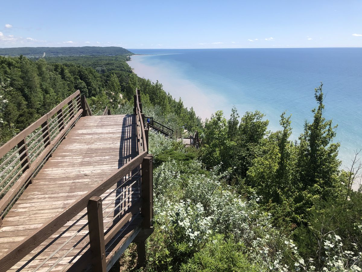 Une vue sur un littoral, avec une promenade en bois et des escaliers menant à une forêt à feuilles persistantes et le rivage avec le lac au-delà.