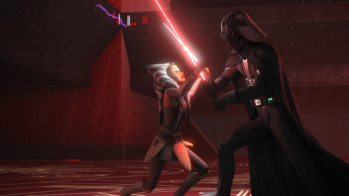 """Twilight of the Apprentice,"" Star Wars: Rebels season 2 : Ahsoka vs. Anakin lightsaber fight"
