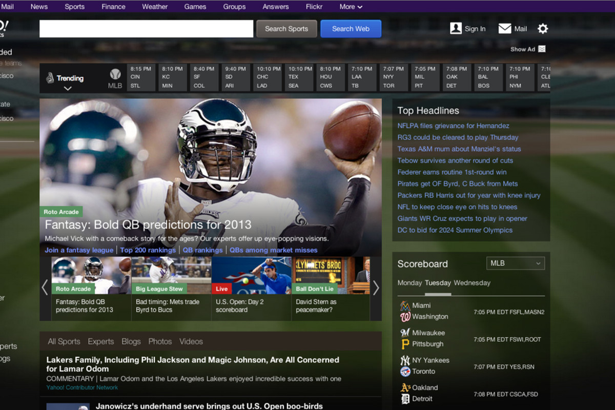 Yahoo Sports aug 2013 redesign