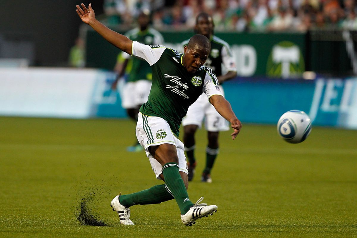 PORTLAND, OR - JULY 02: Darlington Nagbe #6 of the Portland Timbers takes a shot on goal against Sporting Kansas City on July 2, 2011 at Jeld-Wen Field in Portland, Oregon. (Photo by Jonathan Ferrey/Getty Images)