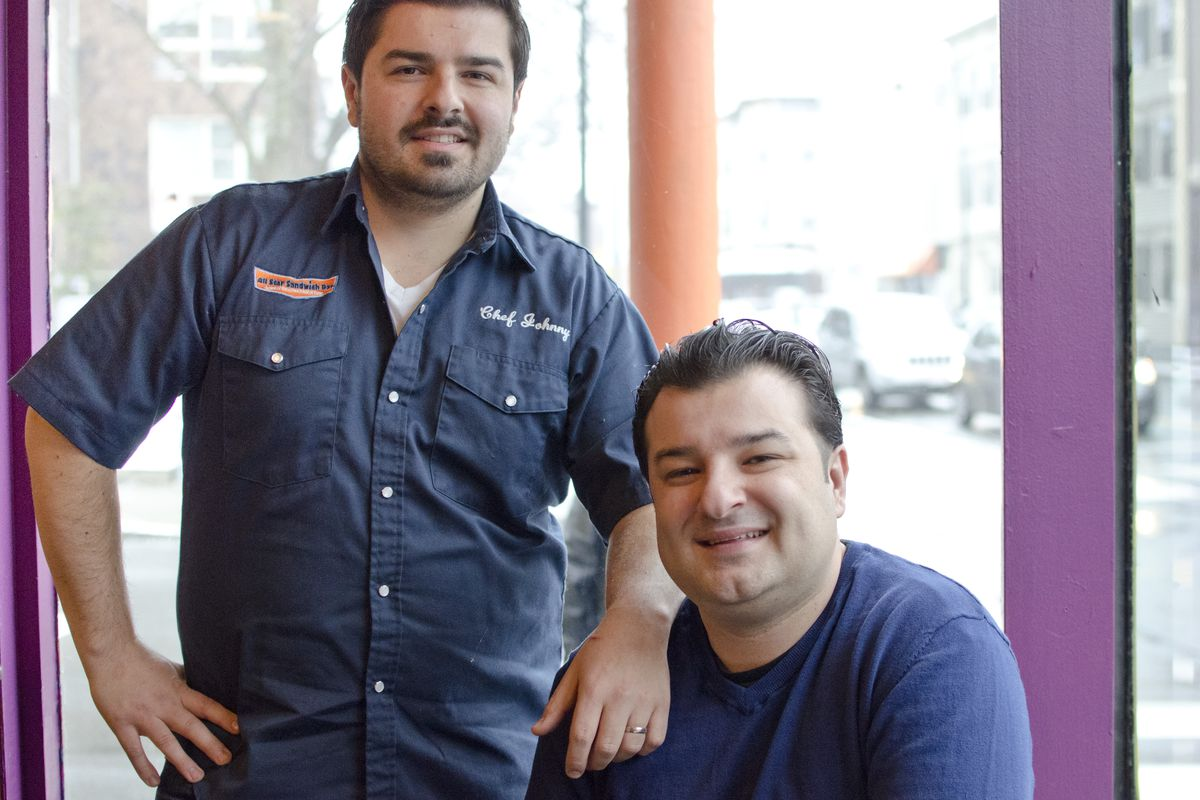 Johnny (left) and Kosta Diamantopoulos at All Star Sandwich Bar