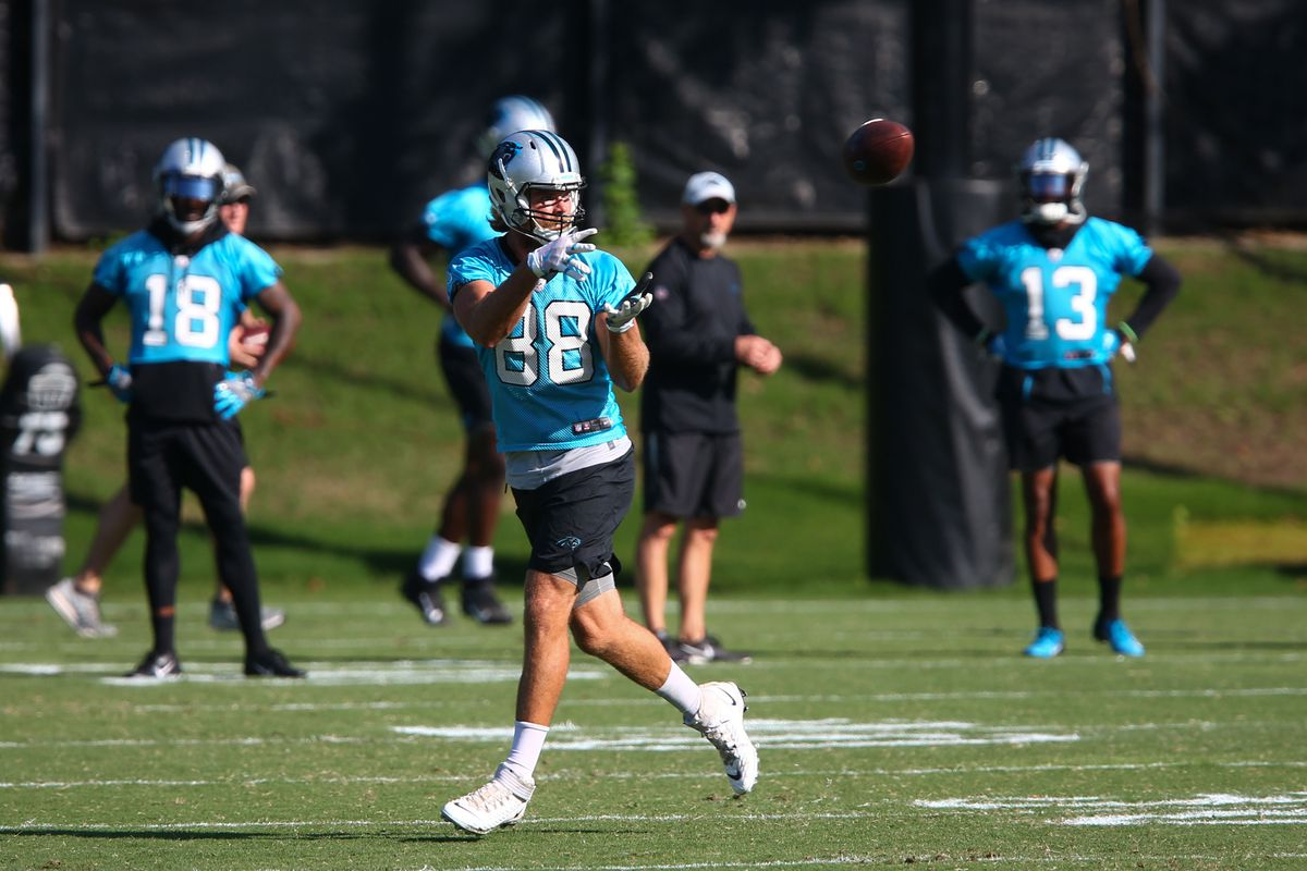 Carolina Panthers tight end Greg Olsen catches a pass during practice at Bank of America Stadium.