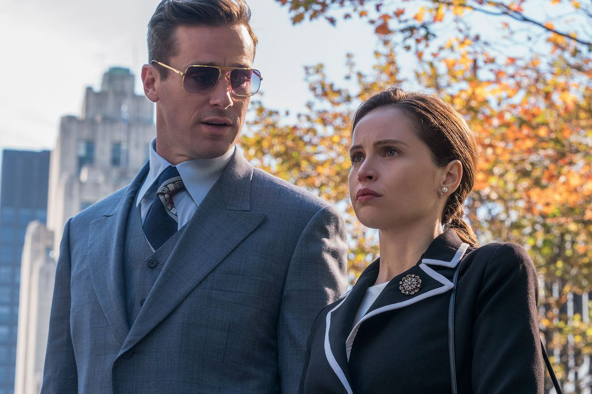 Armie Hammer and Felicity Jones play Martin and Ruth Bader Ginsburg in On the Basis of Sex.