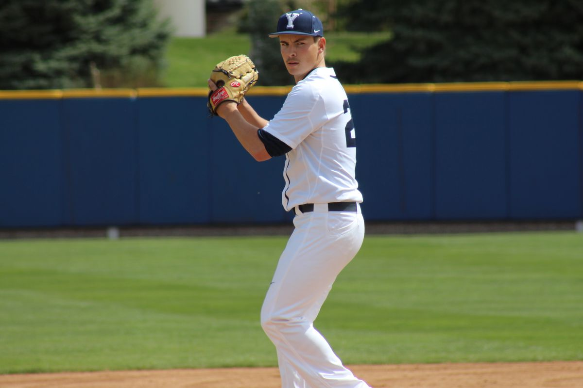 BYU ace Michael Rucker prepares to deliver a strike.