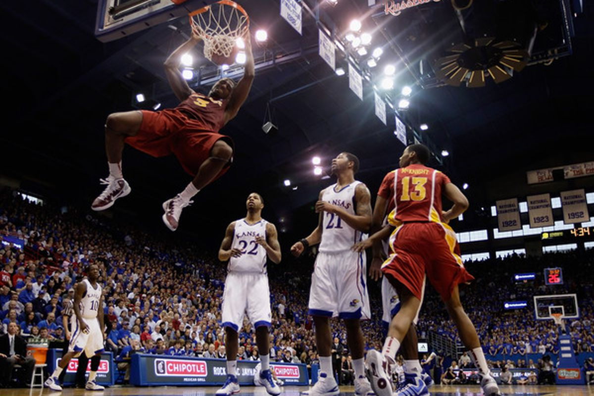 LAWRENCE KS - FEBRUARY 12:  Melvin Ejim #3 of the Iowa State Cyclones dunks during the game against the Kansas Jayhawks on February 12 2011 at Allen Fieldhouse in Lawrence Kansas.  (Photo by Jamie Squire/Getty Images)