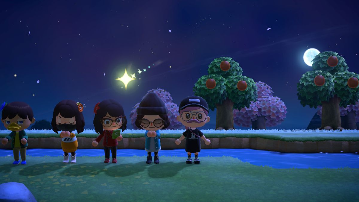 A shooting star in a night time skin in Animal Crossing: New Horizons