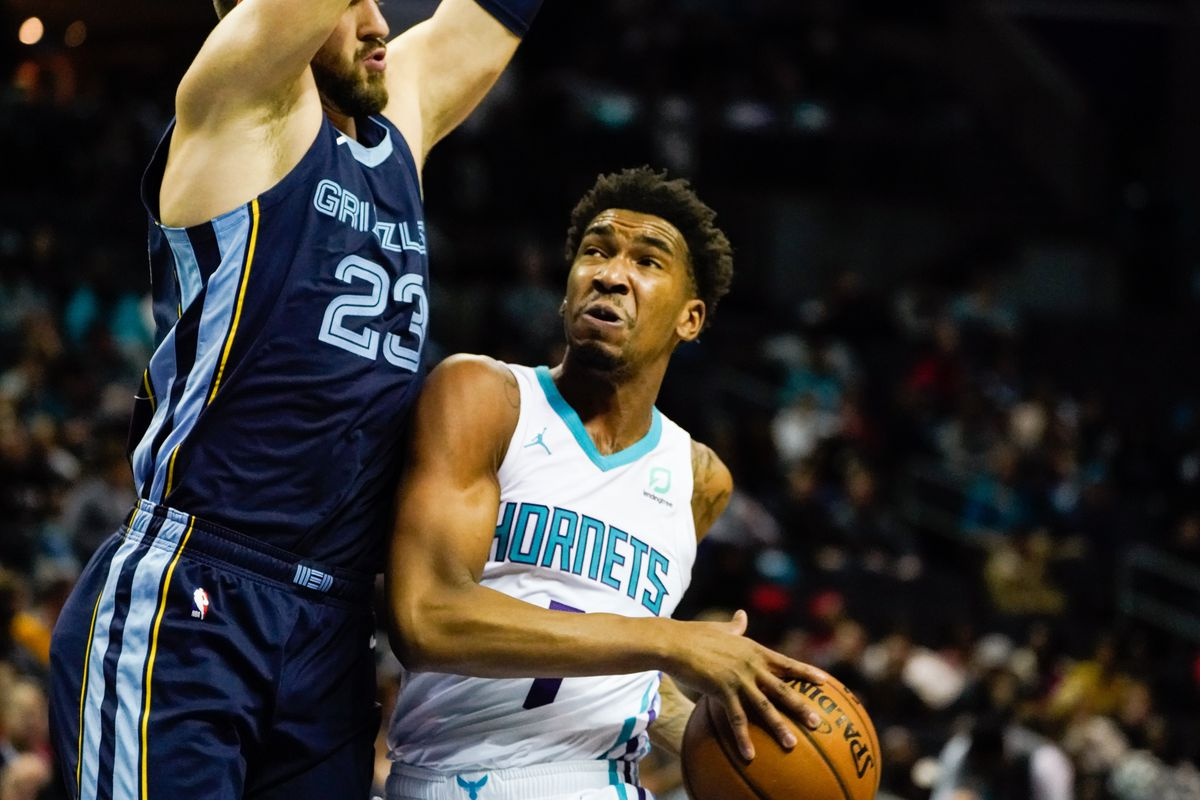 Charlotte Hornets guard Malik Monk goes to the basket against Memphis Grizzlies guard Marko Guduric during the first half at Spectrum Center.